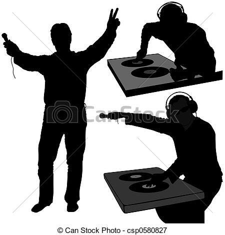 Stock Illustrations of DJ silhouettes 7.