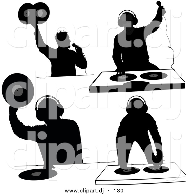 Vector Clipart of a 4 Unique Silhouettes of DJ's.