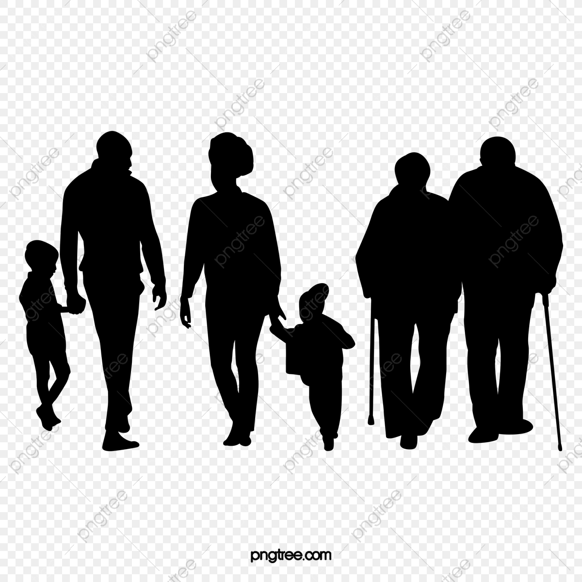 Black Family Silhouette Figures, Family Clipart, Silhouette.