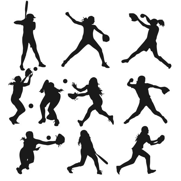 Softball Girls Silhouette Figures Cuttable Designs.
