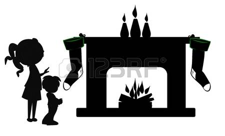 Christmas Fireplace With Children Silhouette Royalty Free Cliparts.