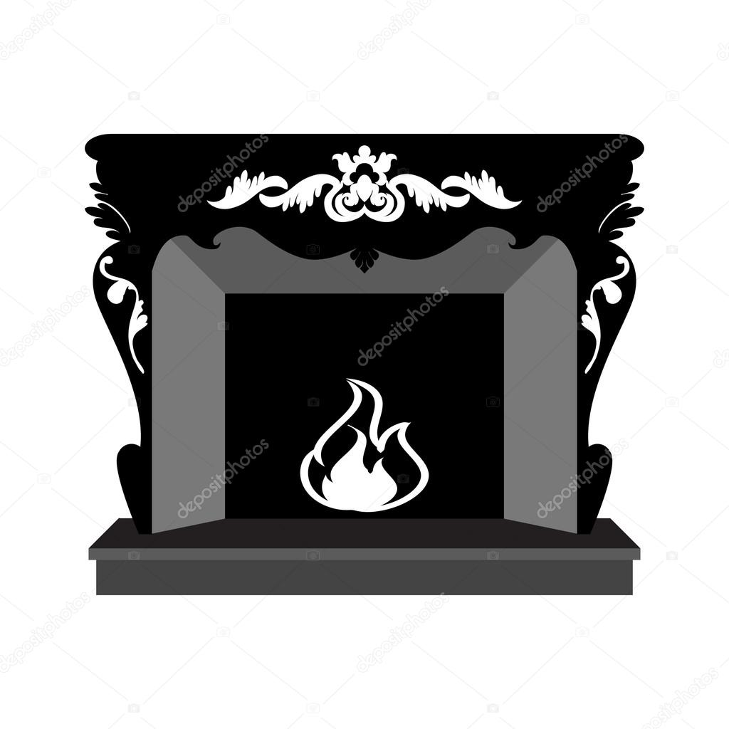 Vector silhouette of fireplace — Stock Vector © alinabel #68147751.