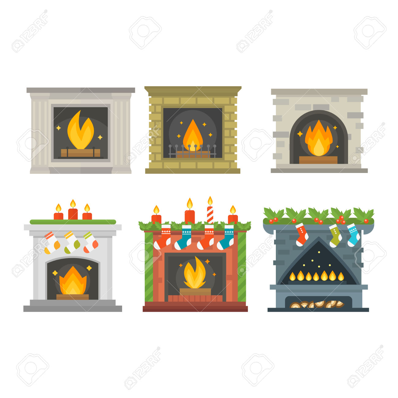 silhouette fireplace clipart #3