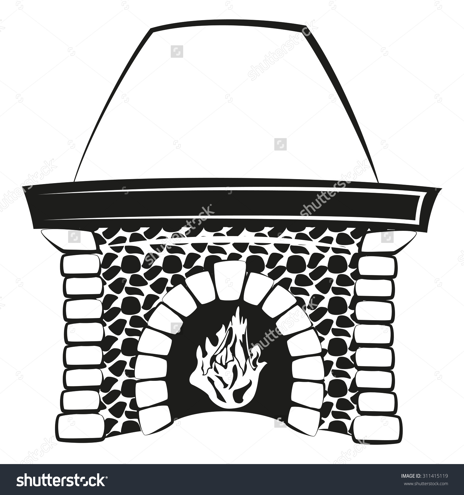 silhouette fireplace clipart #2