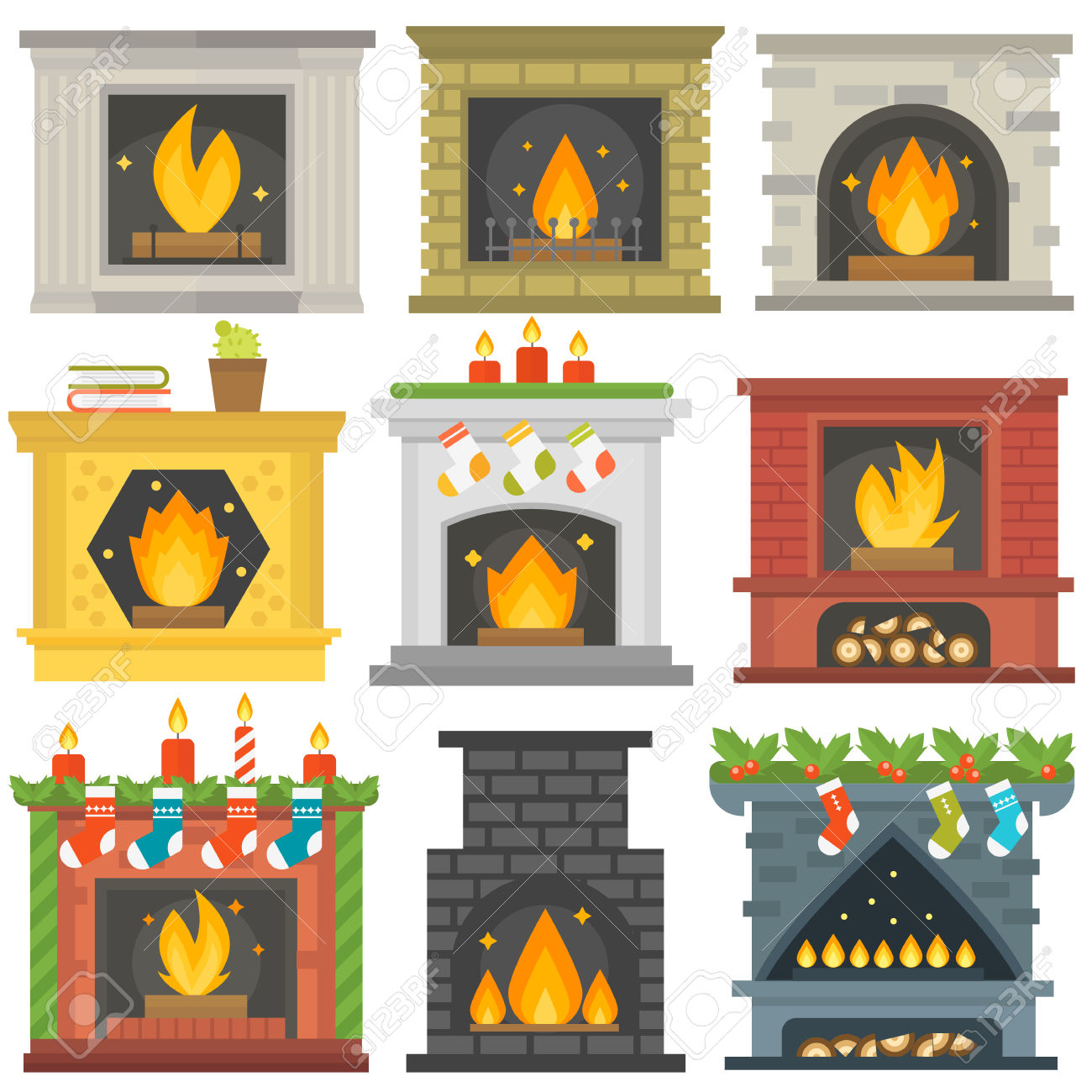 silhouette fireplace clipart #19