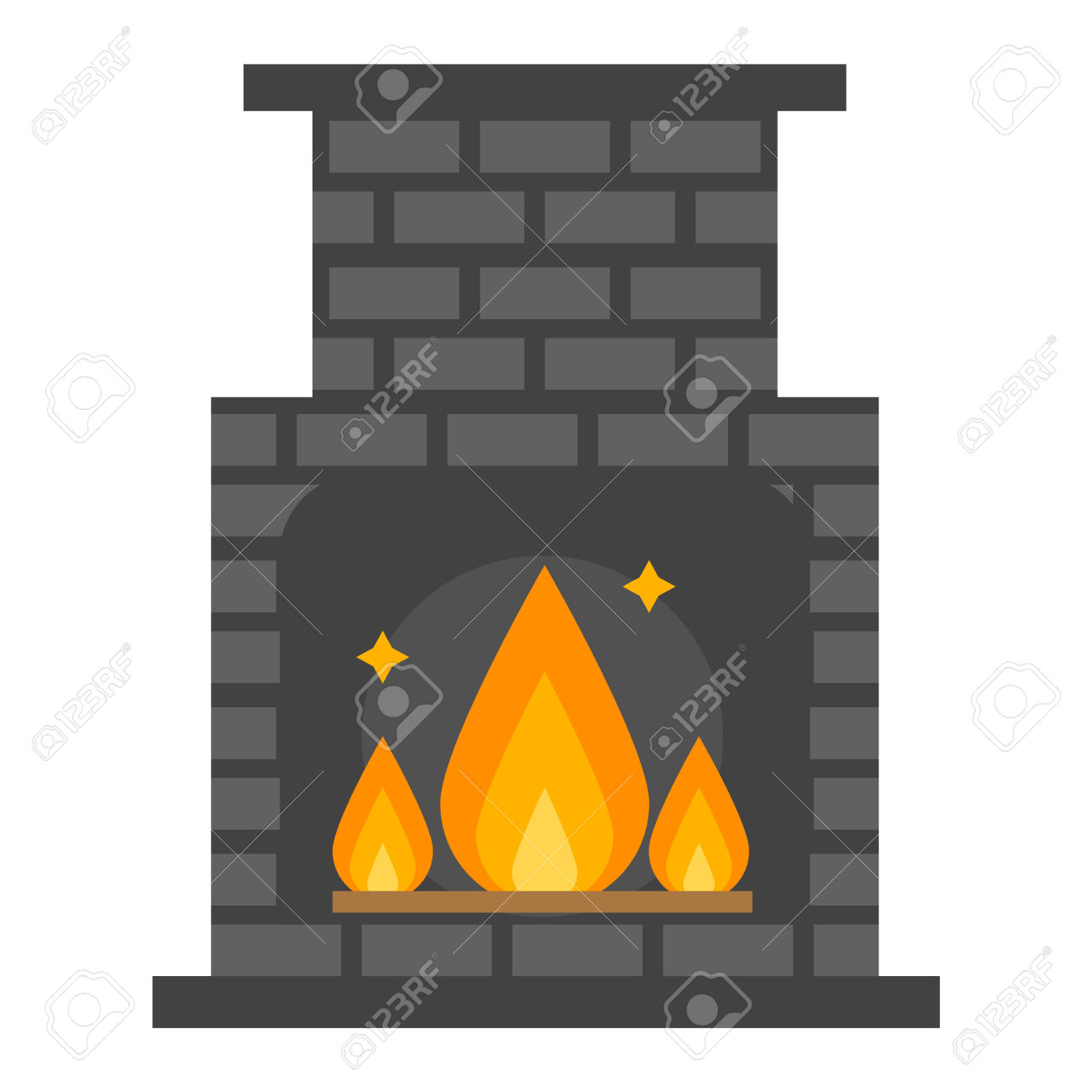 silhouette fireplace clipart #14