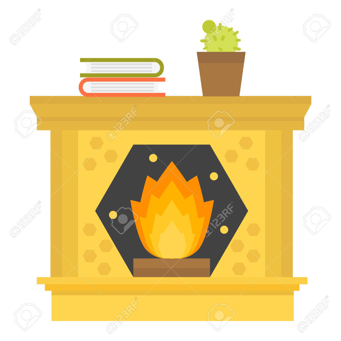 silhouette fireplace clipart #13