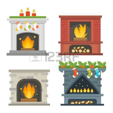 silhouette fireplace clipart #12