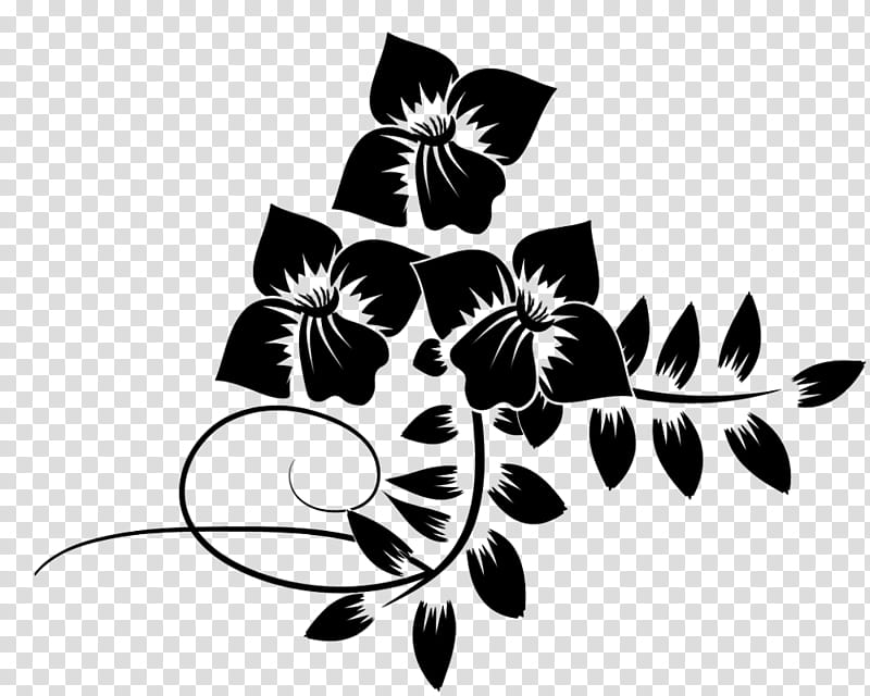 Flowers Brushes R, black silhouette floral border.