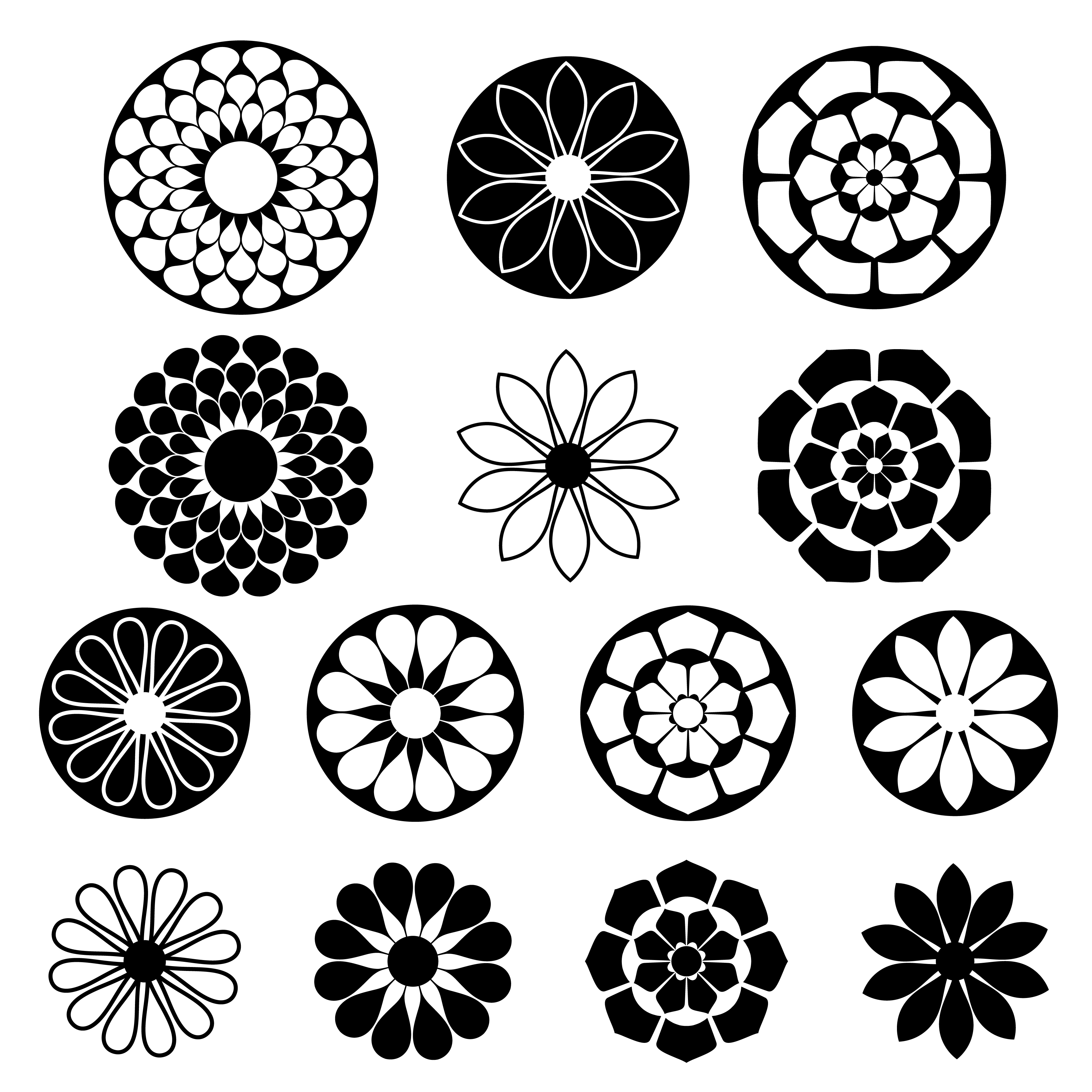 black silhouette flower shapes.