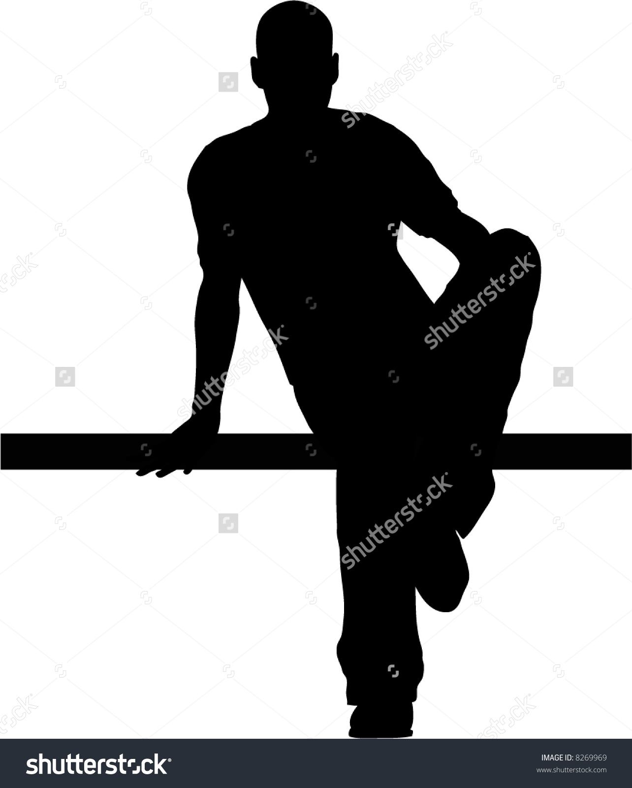 Young Male Model Silhouette Sitting On Stock Vector 8269969.
