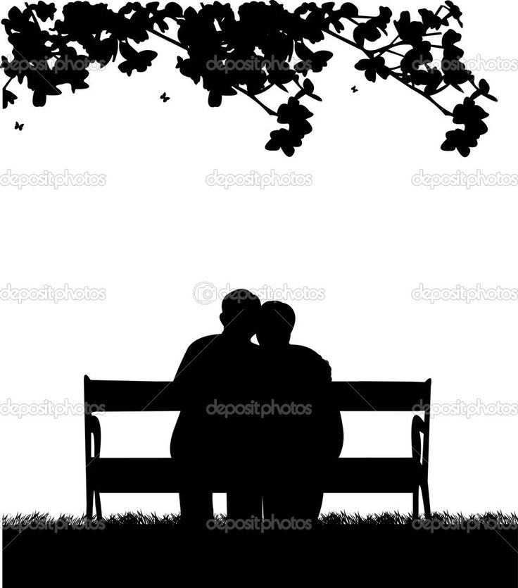 Silhouette Free Clipart Of 2 Men Setting On A Bench 20