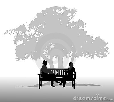 Silhouette Of Lovers Sitting On The Bench Stock Vector.