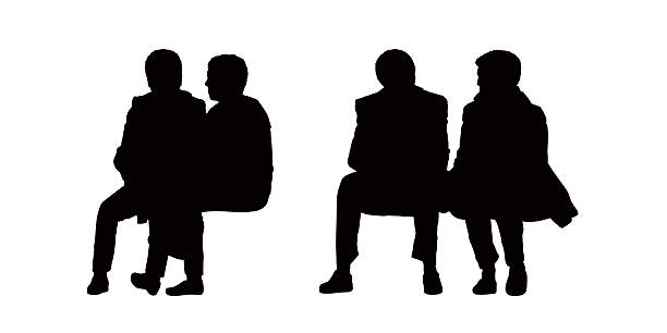 Silhouette Free Clipart Of 2 Men Setting On A Bench
