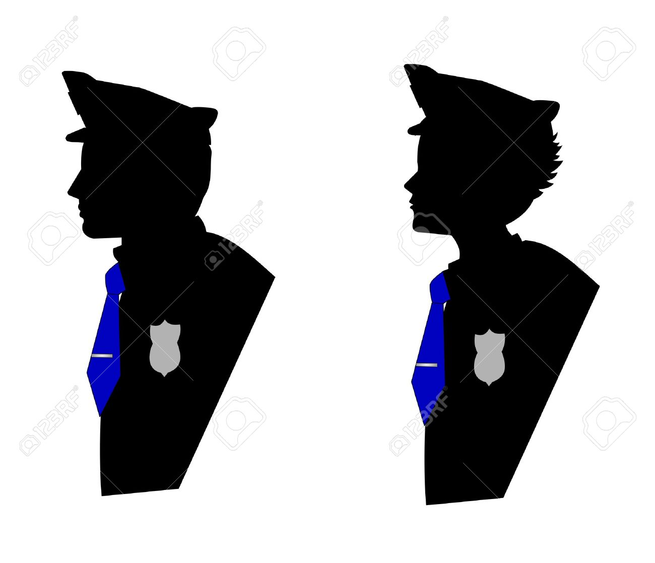 MALE AND FEMALE POLICE OFFICERS IN SILHOUETTE Royalty Free.