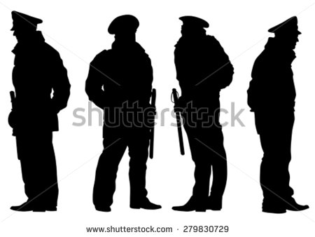 Policeman Silhouette Stock Images, Royalty.