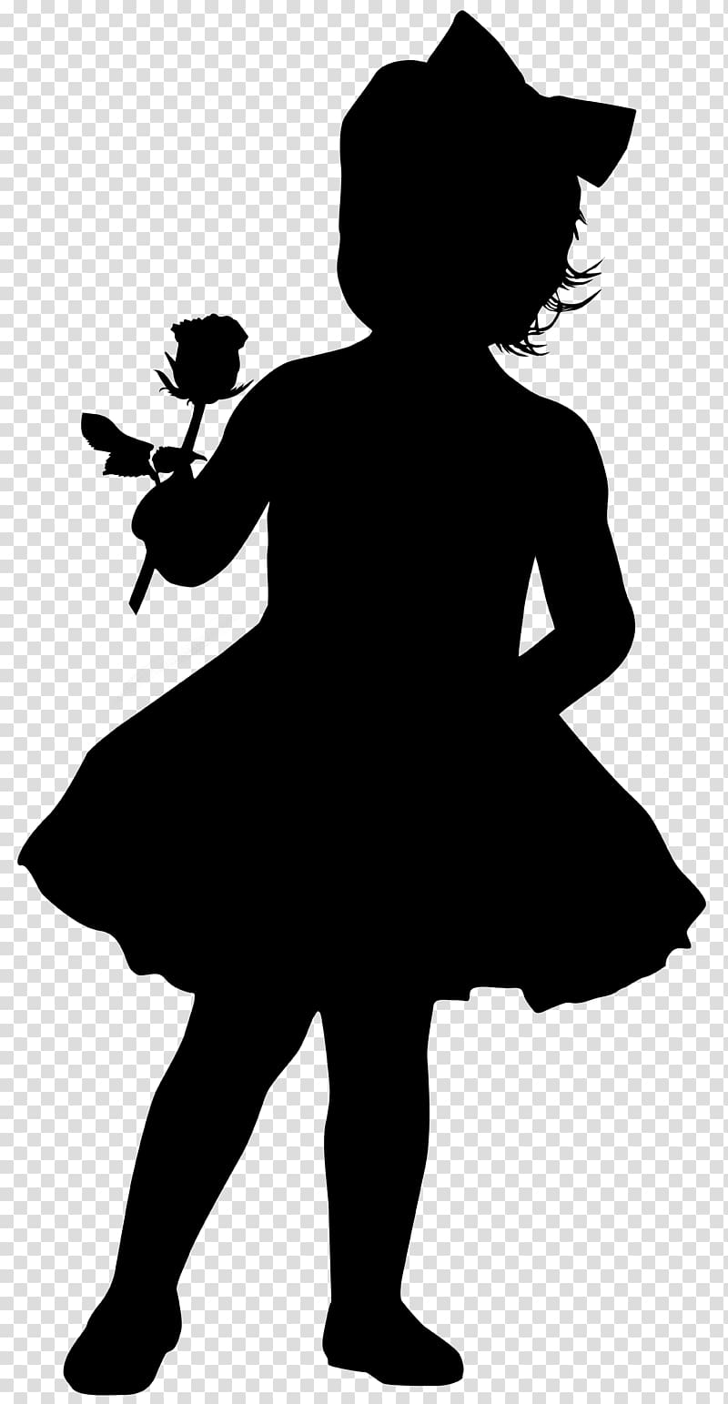 Silhouette Girl Drawing, Little Girl with Rose Silhouette.