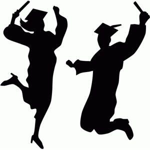 graduation students silhouette.