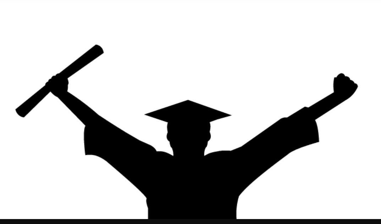 Male graduate silhouette.