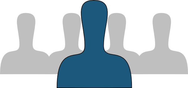 Group Silhouette With Blue Exception Clip Art at Clker.com.