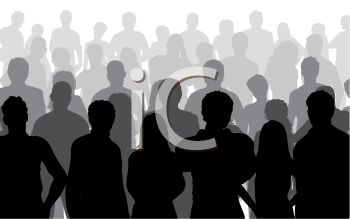 Large Group of People in Silhouette.