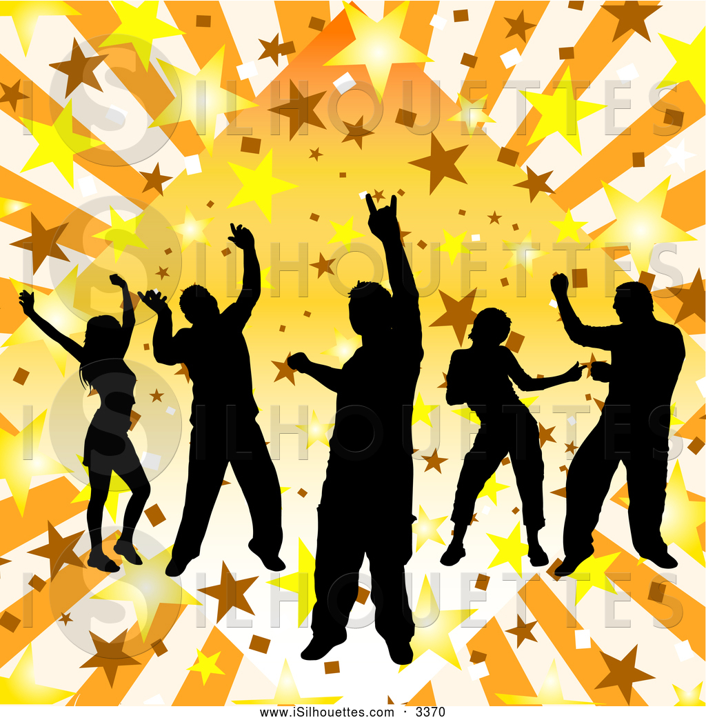 Group Dancing Silhouette Clipart.
