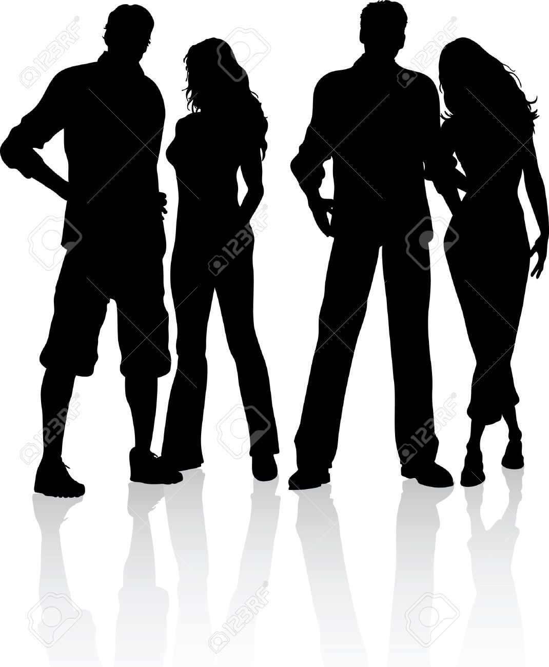 Silhouette Of A Group Of Friends Royalty Free Cliparts, Vectors.