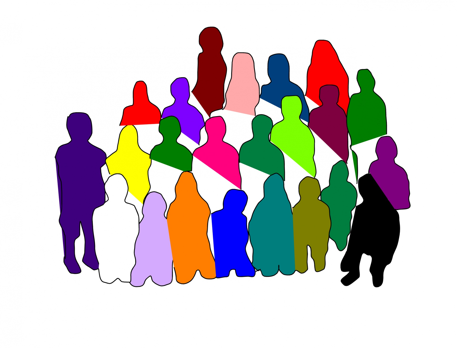 Diverse Group Silhouette Free Stock Photo.
