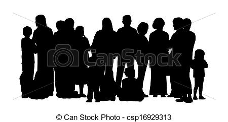 Clipart of large group of people silhouettes set 2.