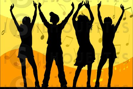 Group Dancing Silhouette Clip Art, Group Dancing Silhouette Clip.