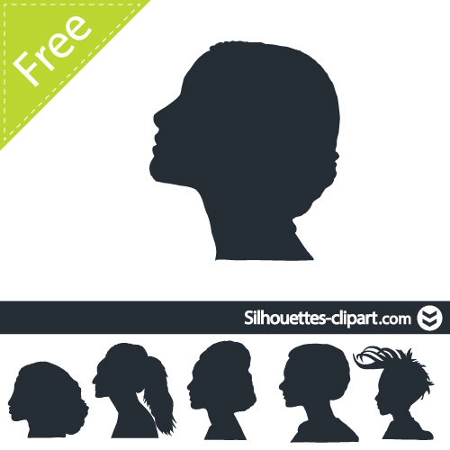 Female head profile vector silhouette.