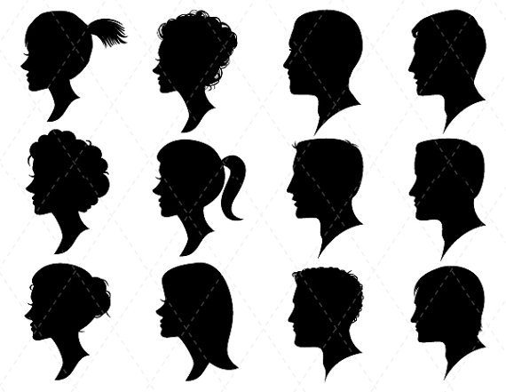 Digital Woman Heads Silhouette Clip Art Man Heads Silhouette Clip.