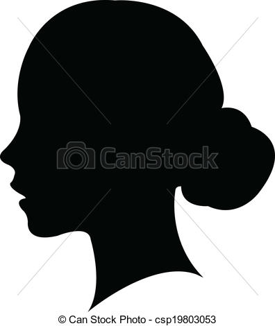 Clipart Vector of a girl head silhouette vector.