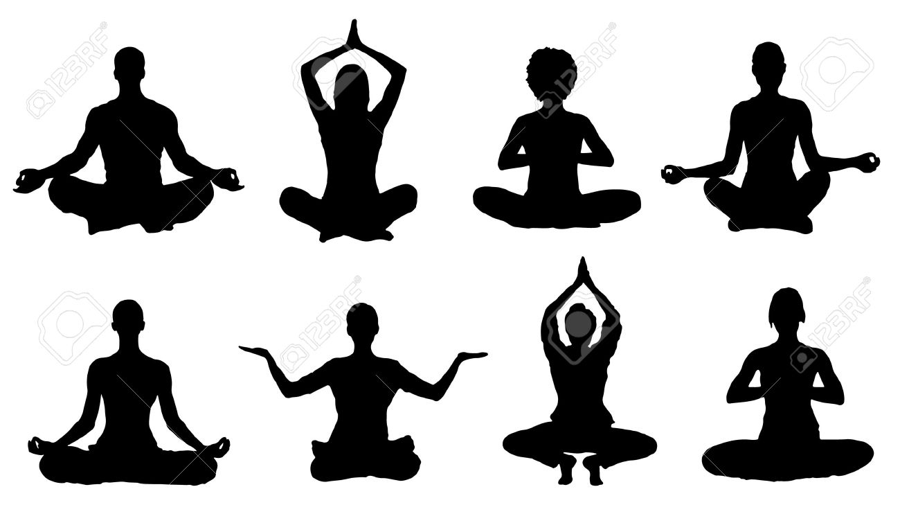 Meditation Silhouettes On The White Background Royalty Free.