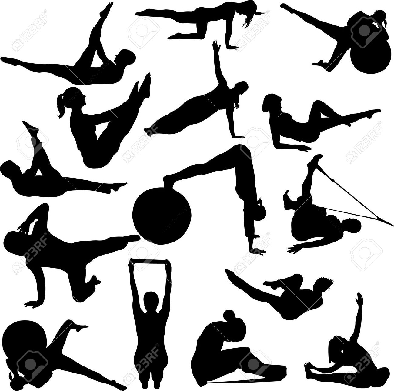 Pilates Women Silhouettes Royalty Free Cliparts, Vectors, And.
