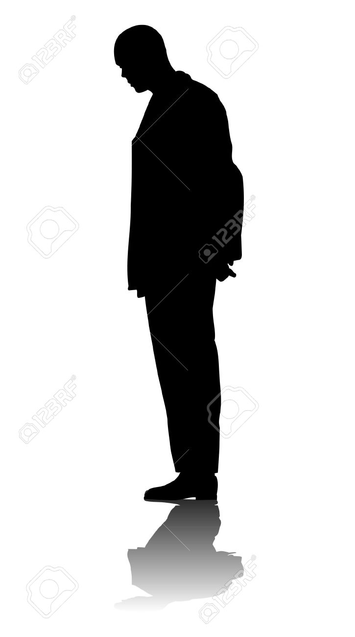 Silhouette Of A Man On White Background Royalty Free Cliparts.