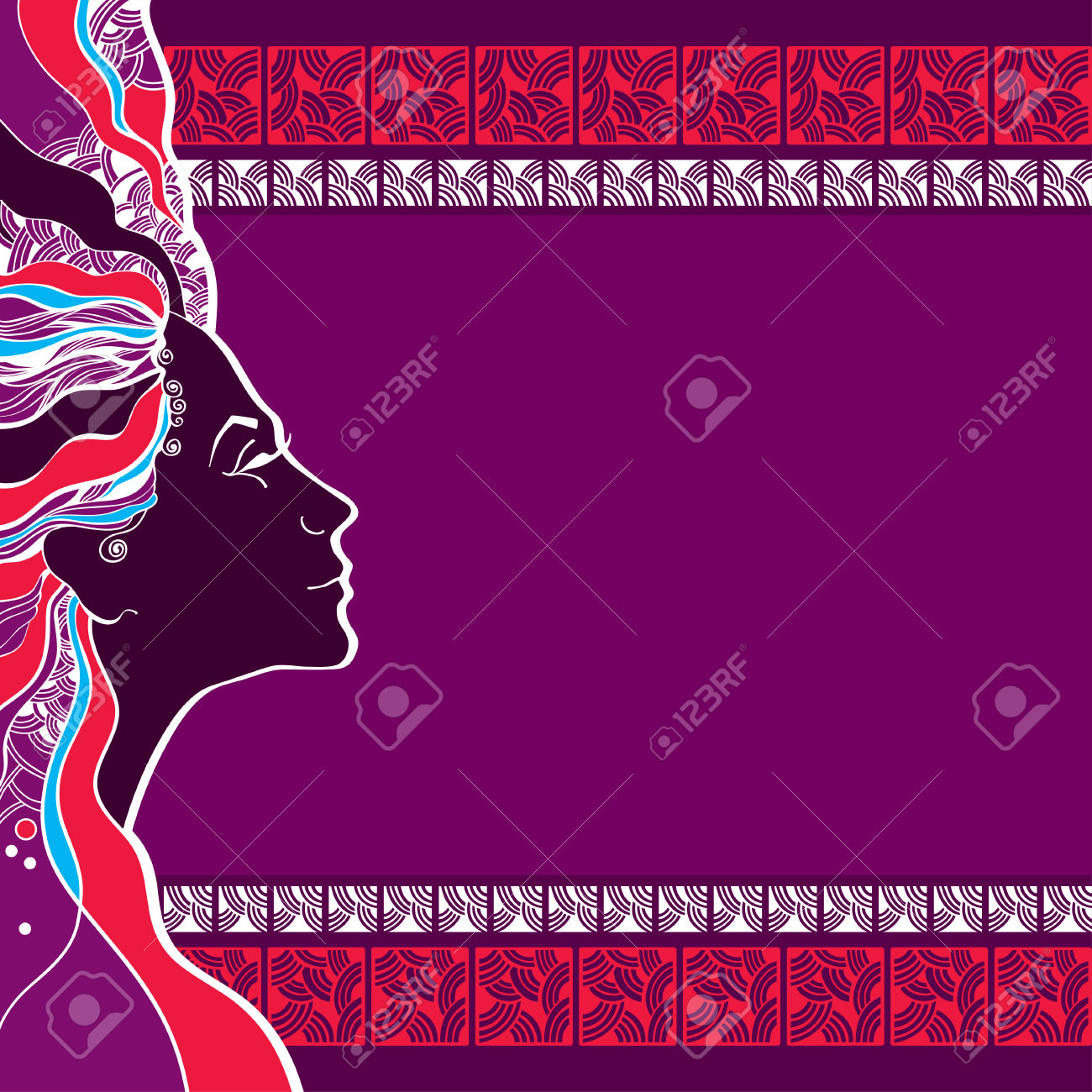 Beautiful Lady Silhouette On A Mosaic Background Royalty Free.