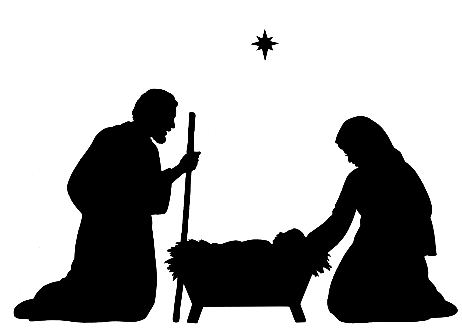 Nativity Scene Clipart Black And White.