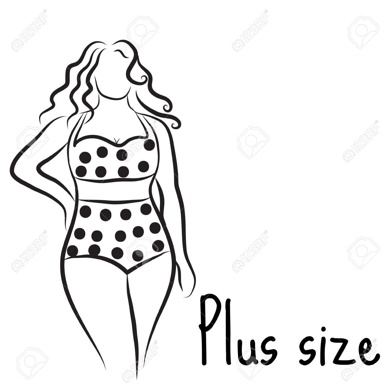 Girl Silhouette Sketch Plus Size Model. Curvy Woman Symbol. Vector.