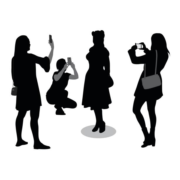 Silhouette Of Plus Size Models Clip Art, Vector Images.
