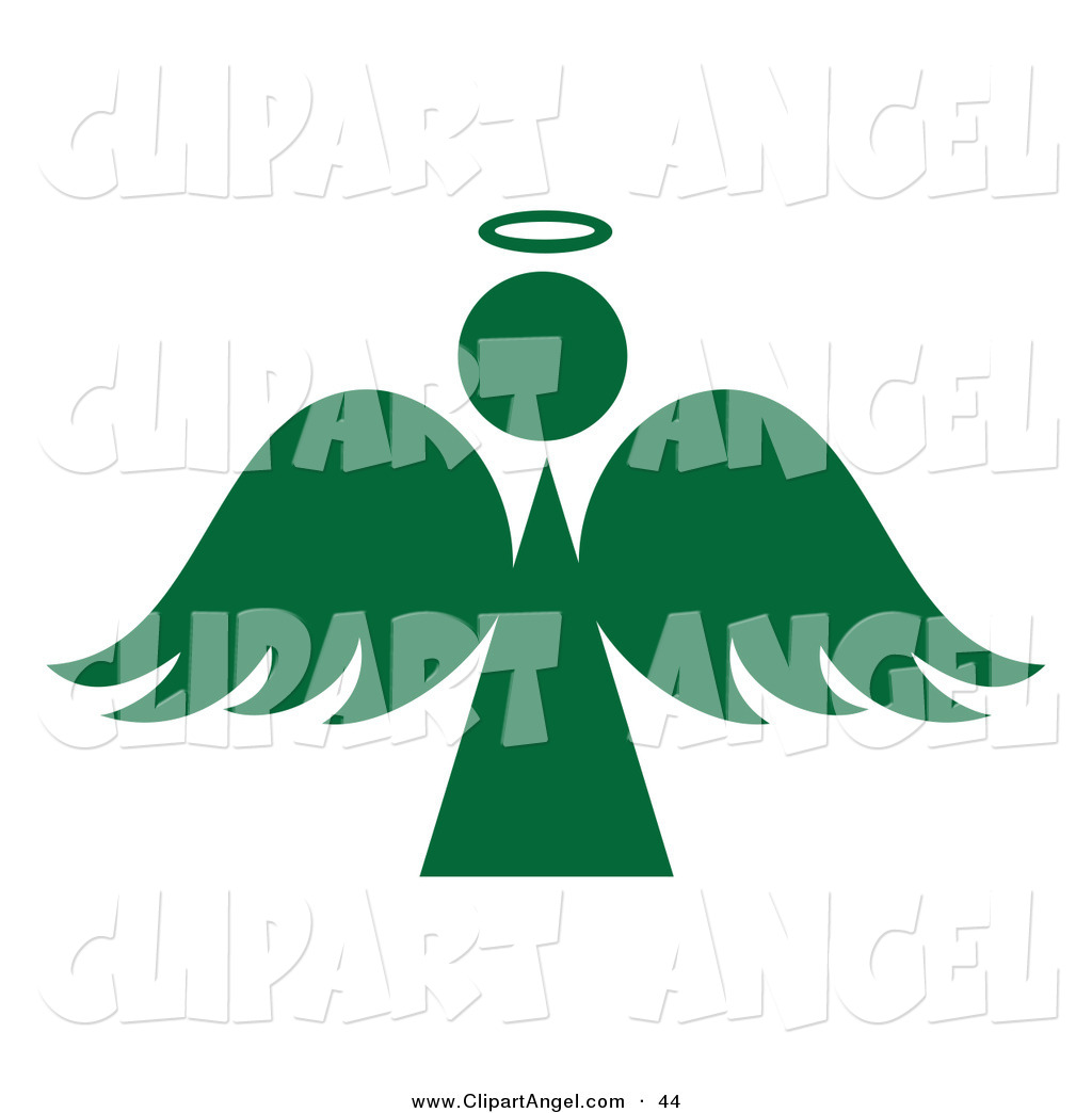 Illustration Vector of a Green Angel Silhouette with a Halo on.