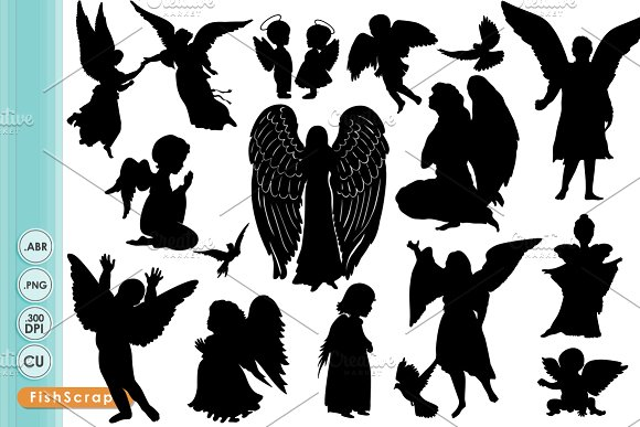 Silhouette Of Angel Clipart Clipground