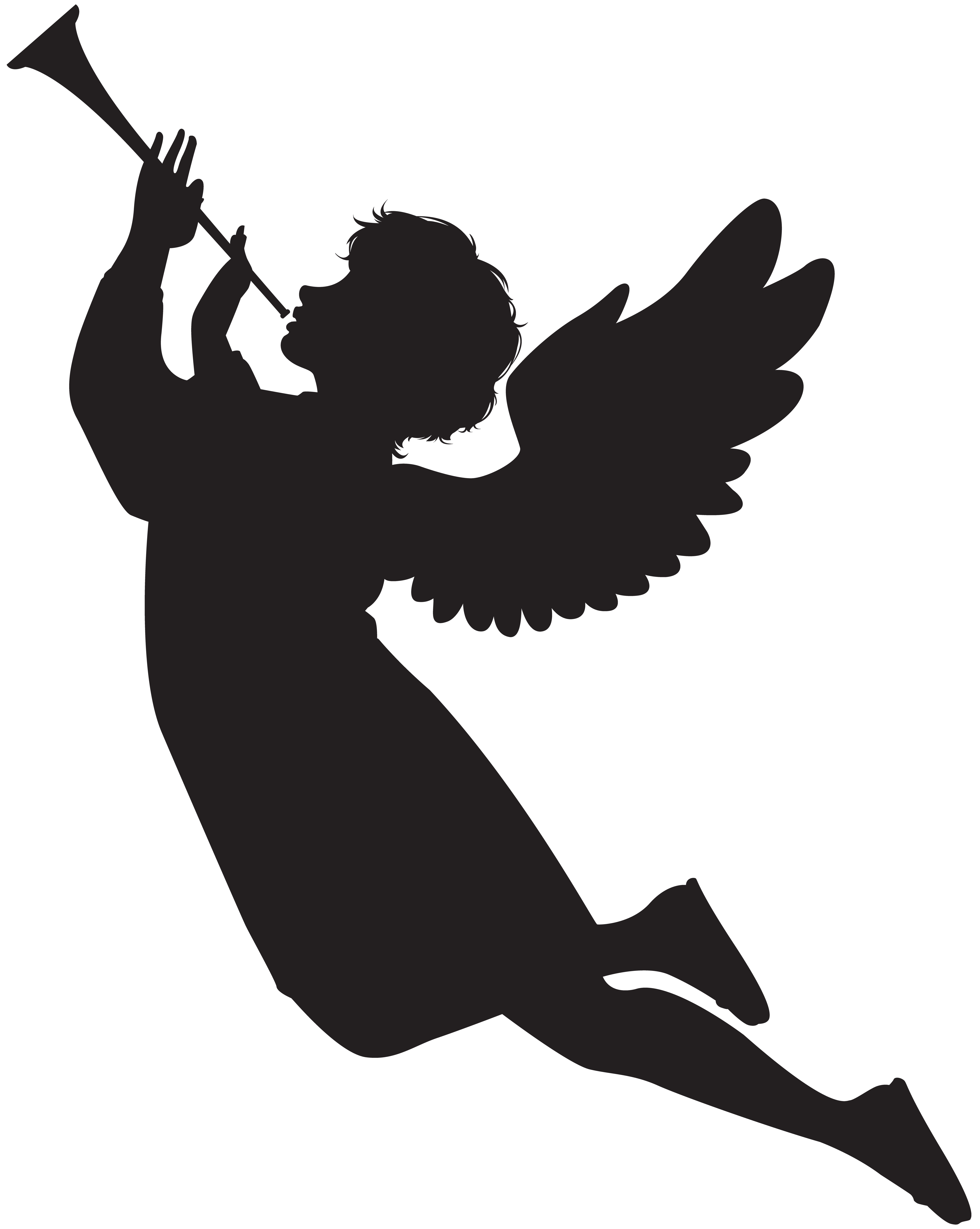 Angel with Fanfare Silhouette PNG Clip Art Image.