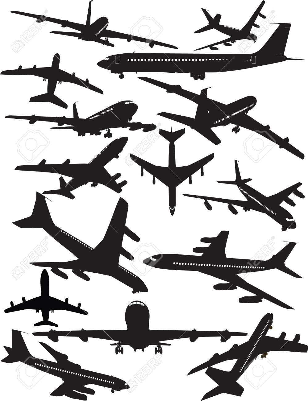 Airplane Silhouettes, Boeing 707 Royalty Free Cliparts, Vectors.