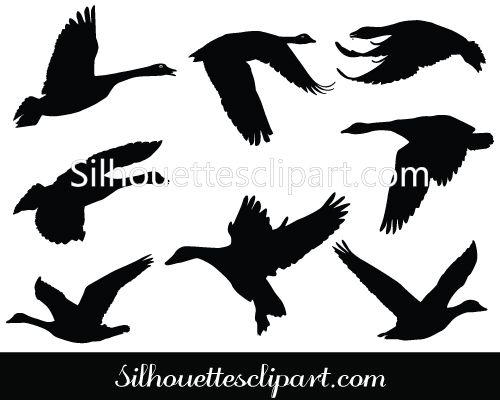 Goose Flying Silhouette Vector GraphicsSilhouette Clip Art.