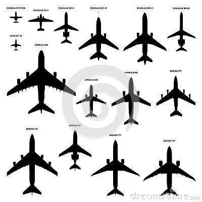Boeing 707 Silhouettes Royalty Free Stock Photo.
