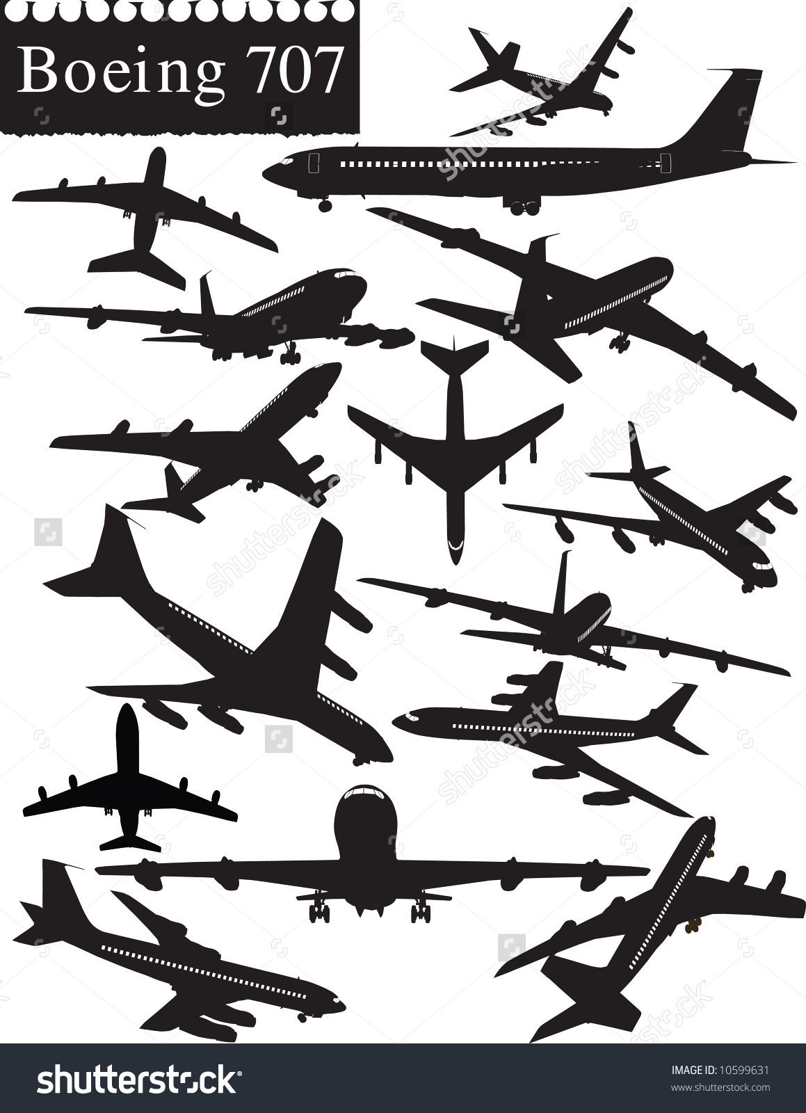 Boeing 707 Stock Vector Illustration 10599631 : Shutterstock.