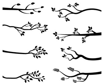 tree branch black and white clipart clipground