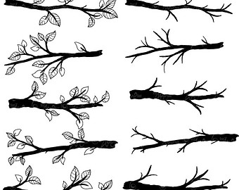 Silhouette of branches clipart #20