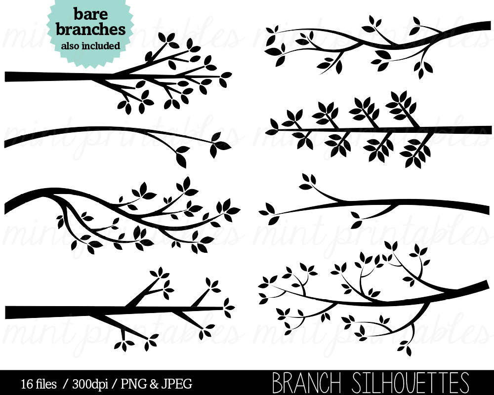 Tree branches clipart silhouette.